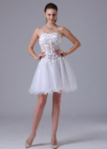 Appliques Decorate Bodice White Helena Wedding Cocktail Party Dress by Organza