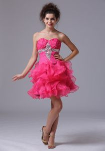 Beading Ruffles Sweetheart A-Line Cocktail Reception Dresses in Hot Pink for NE