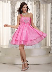 Rose Pink One Shoulder Nevada Cocktail Dress For Prom by Taffeta and Organza