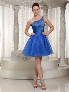 Royal Blue Beaded One Shoulder Cocktail Party Dresses by Organza for Trenton NJ