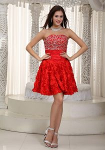 Red Beaded Bodice Santa Fe Cocktail Dress with Skirt by Rolling Flower Fabric
