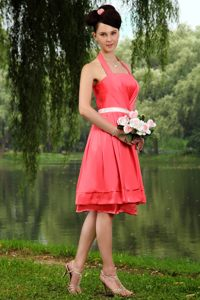 Coral Red Halter Neckline Providence Homecoming Cocktail Dresses with White Sash