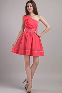 Coral Red One Shoulder Ruched Cocktail Party Dresses for 2014 Nashville TN
