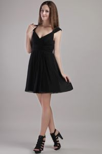 Cheyenne Black Chiffon V-neck Mini-length Evening Cocktail Dress with Cap Sleeves
