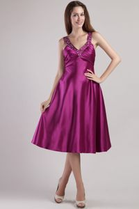 Charleston West Virginia Cheap Beaded Decorate V-neck Fuchsia Cocktail Dresses