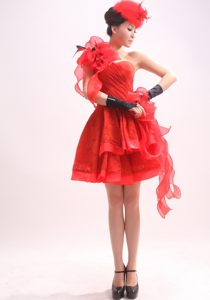 Phoenix Red Handmade Flowers One Shoulder Organza Evening Cocktail Dress