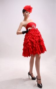 Beading Ruffles Chiffon Red Strapless Cocktails Dresses in Little Rock Arkansas
