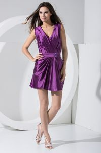 Fashionable Denver CO Mini-length Beaded Sash V-neck Purple Cocktail Dress