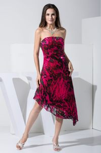 Dover Delaware Asymmetrical Wedding Cocktail Party Dress by Printed Fabric