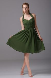 2014 Dark Green Halter Top Ruched Cocktail Dress for Prom in Boise Idaho