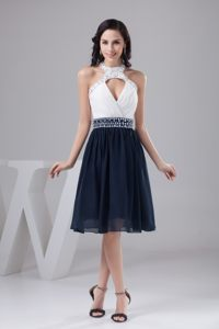 Springfield White and Navy Blue Halter Neck Beaded Belt Prom Cocktail Dress