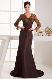 2014 Frankfort KY Brown Cocktail Dresses with Long Sleeves and Appliques