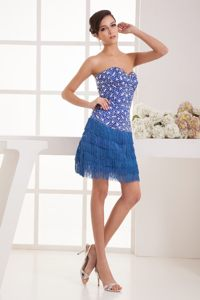 Rhinestone Decorate Bodice Tasseled Skirt Baton Rouge Cocktail Dress in Mini-length