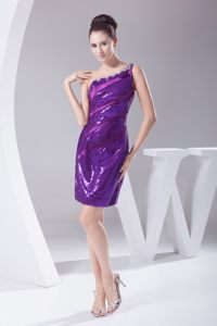 Purple Sequined Fabric One Shoulder Wedding Cocktail Party Dress in Augusta