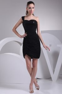 Black One Shoulder Sweetheart Lansing Homecoming Cocktail Dresses with Ruches