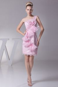 Helena Pink Evening Cocktail Dress with Bowknot and Ruffles Decorated Single Shoulder