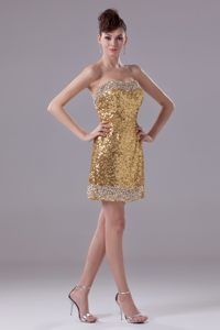 Mini-length Lincoln Cocktails Dresses by Gold Sequined Fabric Decorated with Beading