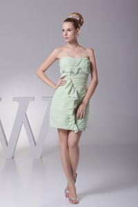 Sweetheart Cocktail Dress by Ruffled and Ruched Light Green Chiffon in Concord
