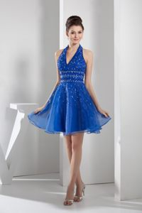 Trenton Halter Neck Blue Dresses For Wedding Cocktail Party with Beading Decorate