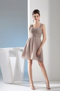Gray Straps Ruched Decorate Bodice Santa Fe Wedding Cocktail Party Dress