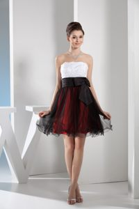 White and Wine red Cocktail Dress with Black Tulle Overlay Skirt in Albany New York