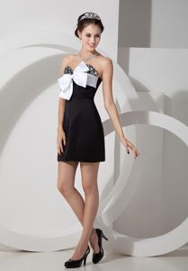 Black Columbus Homecoming Cocktail Dresses with Beaded Bust and White Bow
