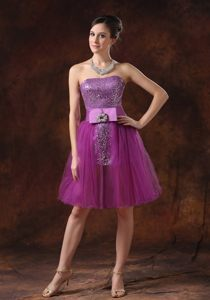 Salem Fuchsia Strapless Cocktail Dress for Prom with Sash by Sequined Fabric and Tulle