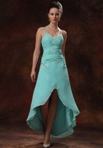 High-low Spaghetti Straps Appliques and Ruches Prom Cocktail Dress in Turquoise