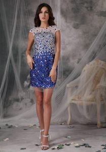 Peacock Blue Cocktail Dress with Scoop Neck by Sequined Fabric in Pierre SD