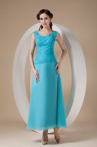Teal Ankle-length Chiffon Homecoming Cocktail Dress with Straps