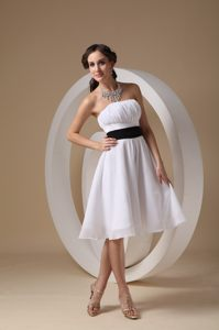 Ruched White Cocktail Dress For Celebrity with a Black Sash Iowa