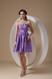 Taffeta Lavender Strapless Cocktail Dress For Prom with Ruches