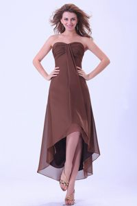 High-low Brown Chiffon Sweetheart Homecoming Cocktail Dress