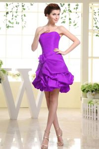 Strapless Sexy Eggplant Purple Dress For Cocktail Party with Pick-ups