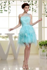 One Shoulder Baby Blue Cocktail Dress For Celebrity with Ruffles