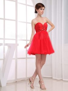 Beaded Sweetheart Ruched Red Wedding Cocktail Party Dress Michigan