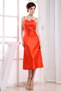 Orange Red Tea-length Cocktail Dress For Prom with Straps Nevada