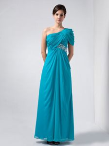 One Shoulder Baby Blue Cocktail Party Dress in Ankle-length Chiffon