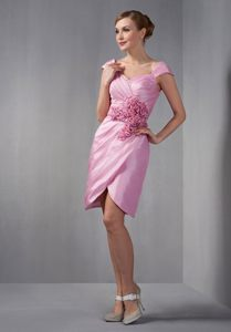 Taffeta Rose Pink Ruched Cocktail Party Dress with Cap Sleeves
