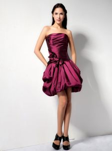 Kansas Ruched Burgundy Strapless Taffeta Homecoming Cocktail Dress