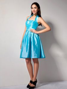Brand New Aqua Blue Taffeta Halter Top Cocktail Party Dress Ohio