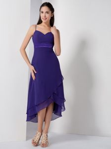 Purple High-low Chiffon Evening Cocktail Dress with Straps Nevada