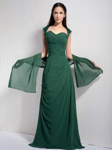 Sweetheart Dark Green Column Cocktail Party Dress with Brush Train
