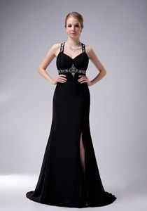 Black Cocktail Dress For Prom with Straps and a Brush Train Maine