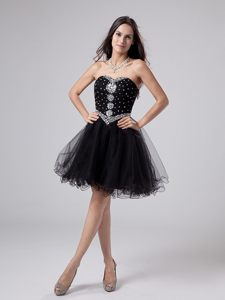 Beaded Simple Sweetheart Black Homecoming Cocktail Dress Georgia