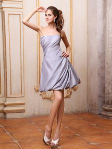 Grey Taffeta Strapless Ruched Cocktail Dress For Celebrity Missouri