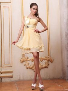 Yellow One Shoulder Homecoming Cocktail Dress with Beading Idaho