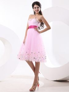 Beaded Baby Pink Homecoming Cocktail Dress with Fuchsia Sash Nevada
