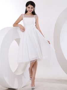 White Taffeta and Tulle Cocktail Dress For Prom in Scoop Neckline