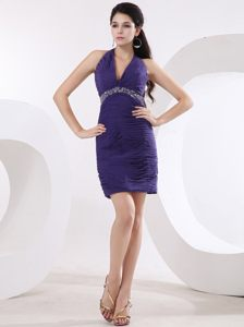 Halter-top Beaded Purple Cocktail Party Dress with Ruches Kentucky